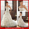 WD-372 Strapless ruched fitted bodice pictures of long train wedding dress 2015 organza