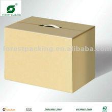 BROWN STORAGE BOX WITH PLASTIC HANDLE