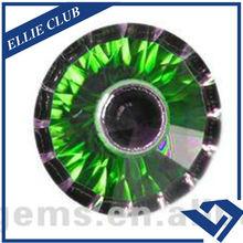 Green round shape cubic zirconia eye gemstone