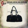 Leather Trim Canvas Duffel Bag Weekender Travel Bag