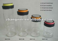 glass jar with plastic color lid