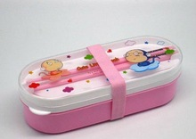 Two Section Rice lunch Box With Chopsticks and Band