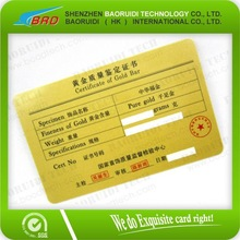 2012 Plastic Certificate Of Gold Guarantee Card