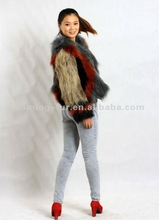 2013 New Design Women Colorful Knitted Raccoon Dog Fur Coat