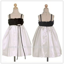 Free Shipping sweet kids girls rosette border bubble mesh overlay special occasion flower girl holiday paty dress