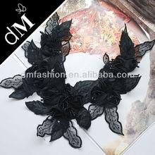 Leaf Collar Neckline Lace Venise Venice Applique Black SNL0161