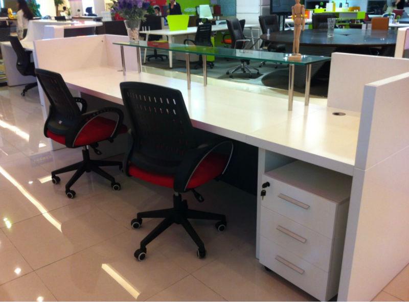 3 person reception desk LH Q004 MDF reception white reception