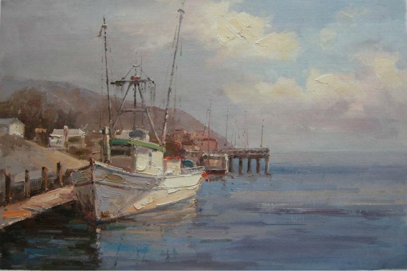 Пейзаж маслом море и лодка картина