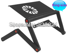 New aluminum highly humanized adjustable laptop notebook desk with with 1 usb fans cooler ,legs height adjustable with 3 sectio
