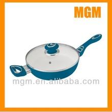 Forged aluminum white ceramic coating deep frying pan