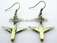 YE9748 fashion design golden alloy airplane shaped earrings