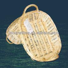 Natual completo buff de mimbre ovalada cesta bandeja con mango ( fábrica proporciona )