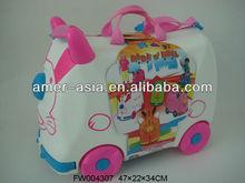 2012 kids plastic suitcase Toy Luggage Bag Trolley Luggage SchoolBag Kid's Toy Box