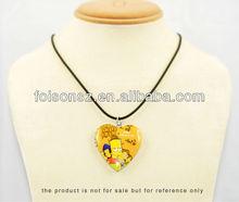 metal hanging heart shaped photo pendant