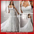 Wd-890 fantasia renda sobre tulle halter neck low back sexy vestidos de casamento imagens