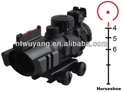 Prismatic scope PM4X32FR Riflescope with Rear Sight Front fiber Sight Horseshoe Reticle