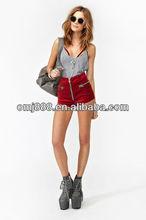 Restore ancient ways red swan velvet former zipper high waist shorts