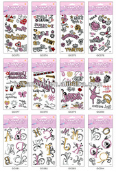2013 good quality Eco-friendly fashion glitter tattoo stencils wholesale