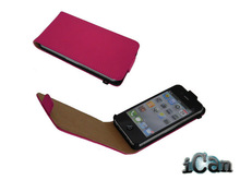 Flip red leather cover case for iphone 4g 4/4s case