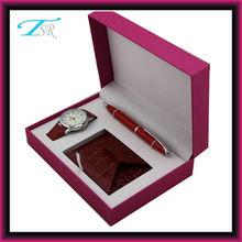 Shenzhen 2014 customer logo with various gift like pen, cardcase,earphone new stylish watch gift set