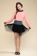ladies fashion long sleeve chffon blouse match mesh mini skirt suit