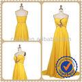 De color amarillo brillante piso longitud gasa con cuentas plisado de la correa de espagueti vestido de noche MY-12182