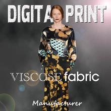 fabric cotton viscose blend, digital print viscose / S8030