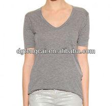 Viscose shortsleeve women's v-neck t shirt