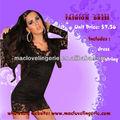 Ml17770 nova moda venda quente do laço preto de mangas compridas lindo mini-barata vestido
