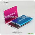Sinotek 2600 mah colorido de aluminio mini pocket emergencia cargador
