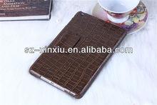 crocodile pu leather case for ipad mini,two folios leather case for ipad mini