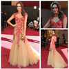 Celebrity Evening Dresses Cap Sleeve Red Lace Evening Dresses