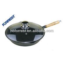 Seasoned cast iron fajita skillet cookware with glass cover diameter 23cm,26cm,30cm