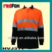 long sleeve two tones reflective work polo shirt