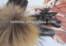 winter fashion sheep leather gloves/raccoon fur gloves SM127100