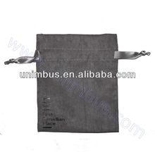 custom logo faux suede bag with satin ribbon drawstring