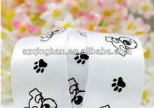 Custom White Dog Footprint Double Sided Satin Ribbon Supplier