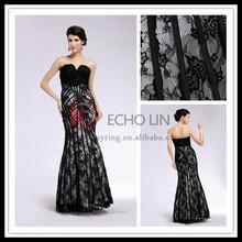 Sexy backless off shoulder elegant long fishtail black lace evening dress 1255