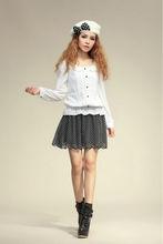 white elastic hem chiffon blouse for elegant ladies