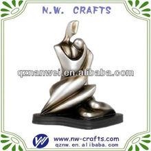 Silver abstract nude wedding couple figurine