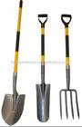 shovel,spade ,fork with firberglass handle plastic grip