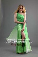 Belle , une épaule vert pomme mousseline de split leg robe de soirée en ligne shopping real simple robes de soirée pour les adolescents