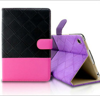 Stand rhombus leather case for iPad mini high quality leather case