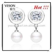 fashion&charming white zircon inlaid silver plated pearl earring jewelry