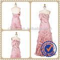 2013 un- línea de color rosa de gasa con cuentas& pliegue de alta clase de vestido de noche