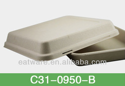 """9"""" Lunch Box Cover with T-lock Biodegradable Disposable Bamboo Fibre Tableware"""