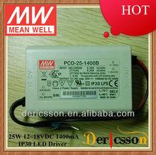 MEANWELL 25W 1400mA Triac Dimmable LED Driver UL PFC PCD-25-1400B