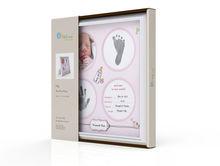 mdf bebé hermoso marco de fotos con huella en color rosa