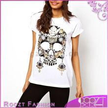 Fashion White Tshirts Cotton Womens's Tshirt Jewelled Skull Printing Cheap Custom T Shirts