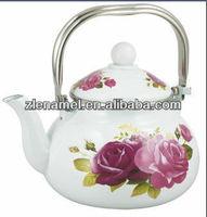 stainless steel handle enamel tea pot kettles with decals